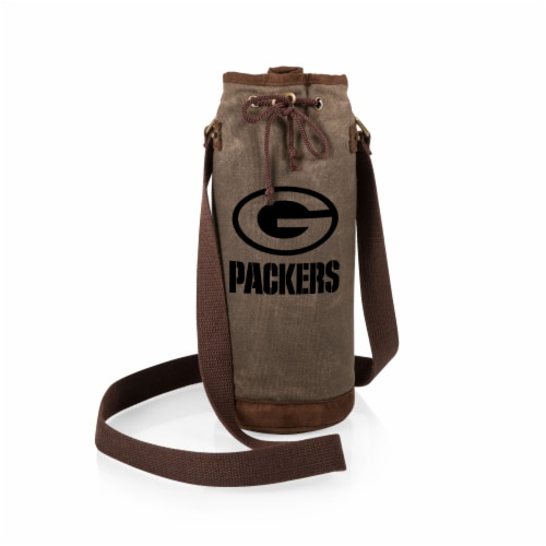 Green Bay Packers - Waxed Canvas Wine Tote Perspective: back