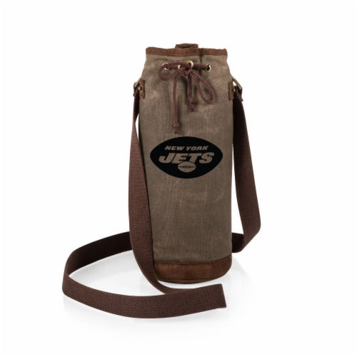 New York Jets - Waxed Canvas Wine Tote Perspective: back