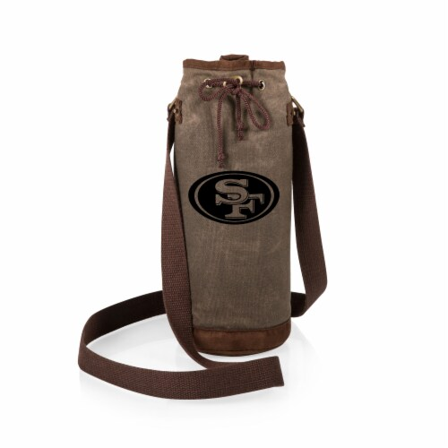 San Francisco 49ers - Waxed Canvas Wine Tote Perspective: back