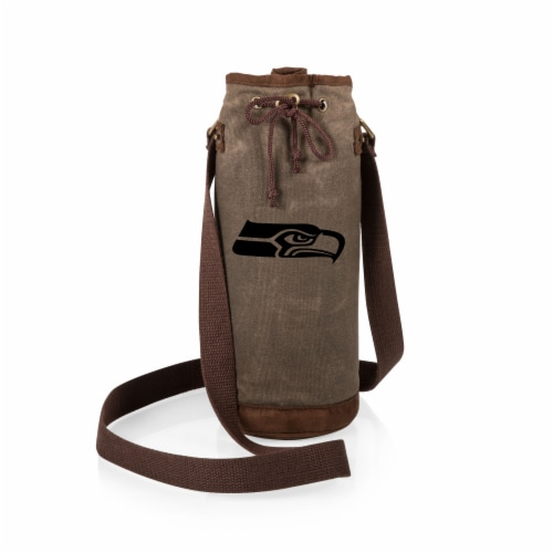 Seattle Seahawks - Waxed Canvas Wine Tote Perspective: back