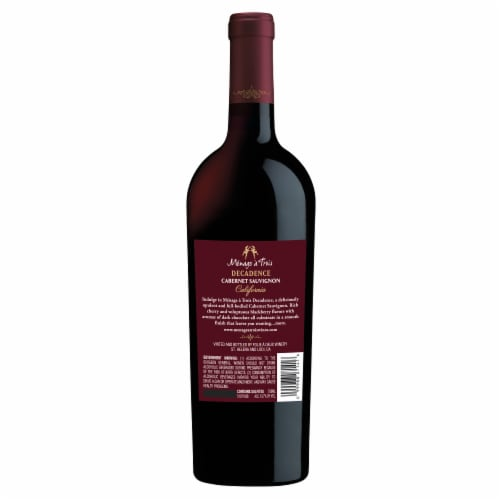 Menage a Trois Decadence Cabernet Sauvignon Red Wine Perspective: back