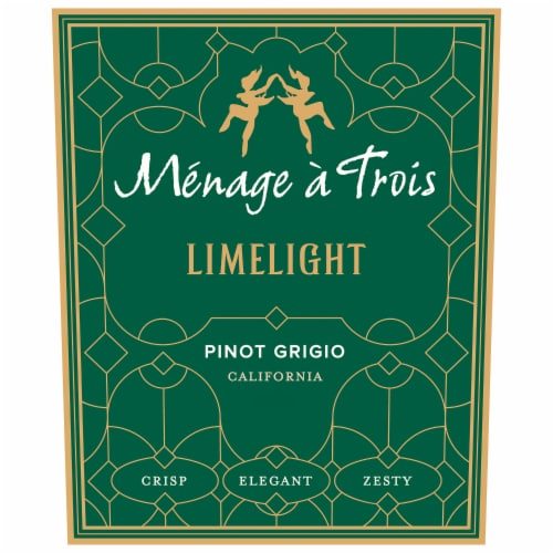 Menage a Trois Limelight Pinot Grigio White Wine Perspective: back