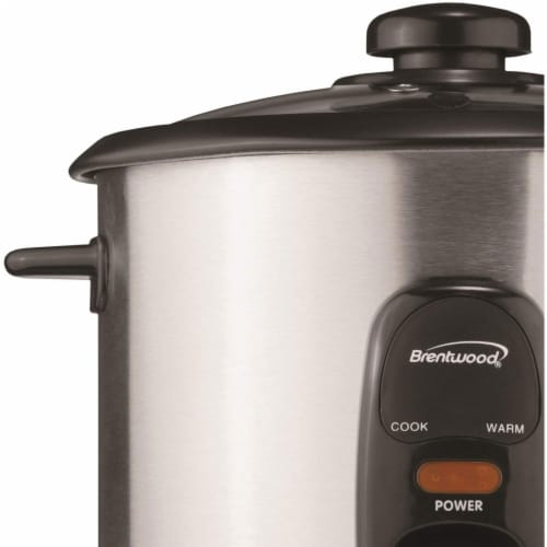 Brentwood TS-15 8 Cup Stainless Steel Rice Cooker with Measuring Cup and Spatula Perspective: back