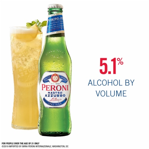 Peroni Nastro Azzurro Pale Lager Beer 6 Bottles Perspective: back