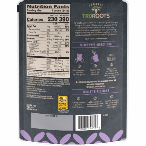 truRoots Quick Cook Spanish Style Quinoa Brown Rice and Red Bean Blend Perspective: back