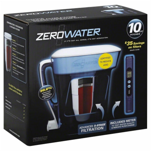 Zerowater 10-Cup Pitcher with Water Filter - Clear Perspective: back