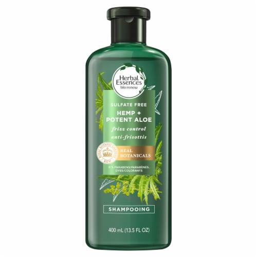 Herbal Essences bio:renew Hemp + Potent Aloe Sulfate Free Shampoo Frizz Control Perspective: back