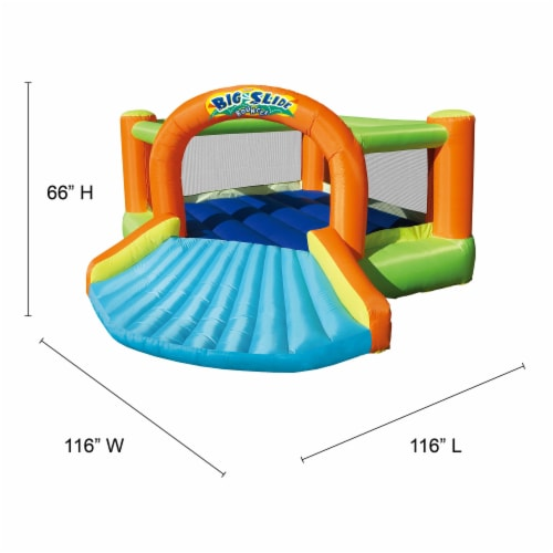 Banzai Big Slide Bouncer Outdoor Inflatable Kids Playhouse and Slide with Blower Perspective: back