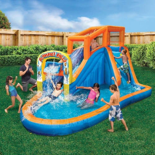 Banzai Plummet Falls Adventure Kids Inflatable Outdoor Water Park Pool Slide Perspective: back