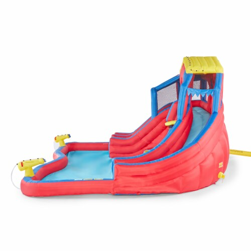 Banzai Hydro Blast Inflatable Play Water Park with Slides and Water Cannons Perspective: back