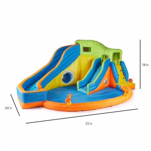 Banzai Pipeline Twist Kids Inflatable Outdoor Water Pool Aqua Park and Slides Perspective: back
