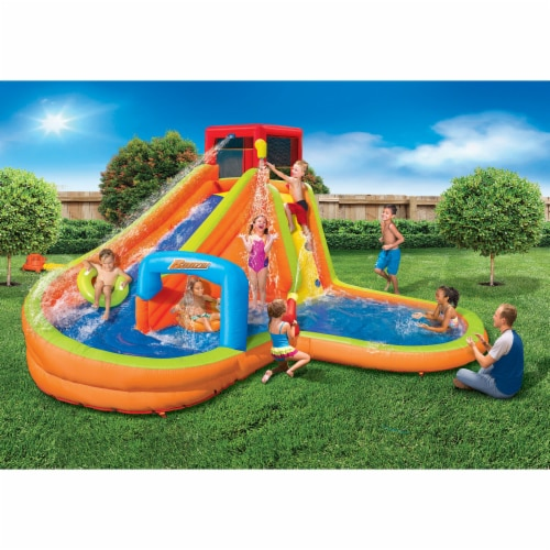 Banzai Lazy River Inflatable Outdoor Adventure Water Park Slide and Splash Pool Perspective: back