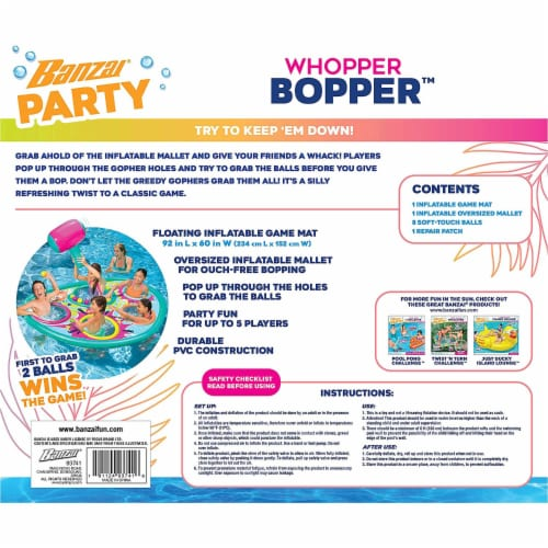 Banzai Whopper Bopper 92x60 Inch Inflatable Pool Float Game Mat and Mallet Toy Perspective: back