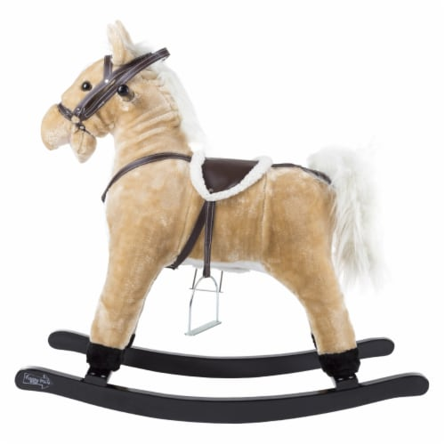 Happy Trails Rocking Horse Toddler to 4 Yrs Wooden Rocker Stuffed Animal Noise Saddle Reins Perspective: back