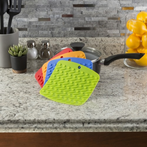 Set of 4 Pot Holders Jar Openers Garlic Peelers Spoon Rests Colorful Silicone Perspective: back