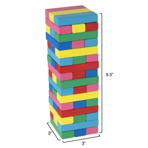 Classic Wooden Blocks Stacking Game with Colored Wood and Carrying Bag Perspective: back