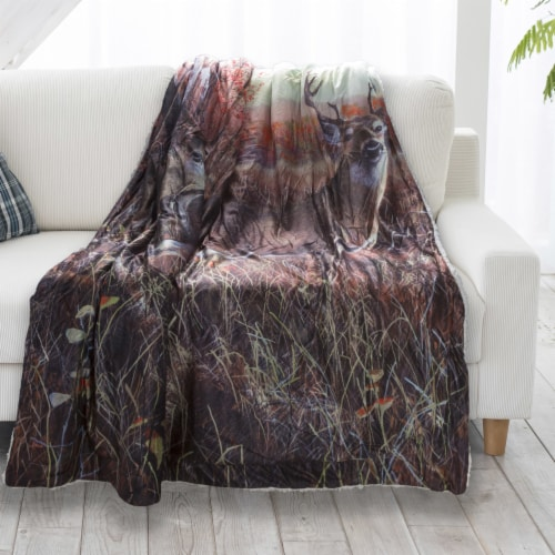 Fluffy Plush Throw Blanket 50 x 60 Inch - Deer Print Lightweight Hypoallergenic Bed or Couch Perspective: back