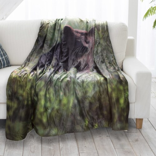 Fluffy Plush Throw Blanket 50 x 60 Inch- Grizzly Bear Print Lightweight Hypoallergenic Bed or Perspective: back