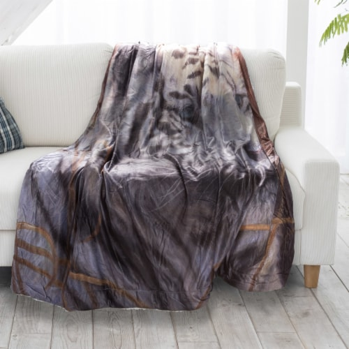 Fluffy Plush Throw Blanket 50 x 60 Inch - White Tiger Print Lightweight Hypoallergenic Bed or Perspective: back
