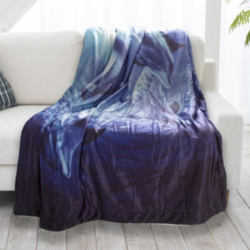 Fluffy Plush Throw Blanket 50 x 60 Inch- Ocean Dolphin Print  Lightweight Hypoallergenic Bed Perspective: back