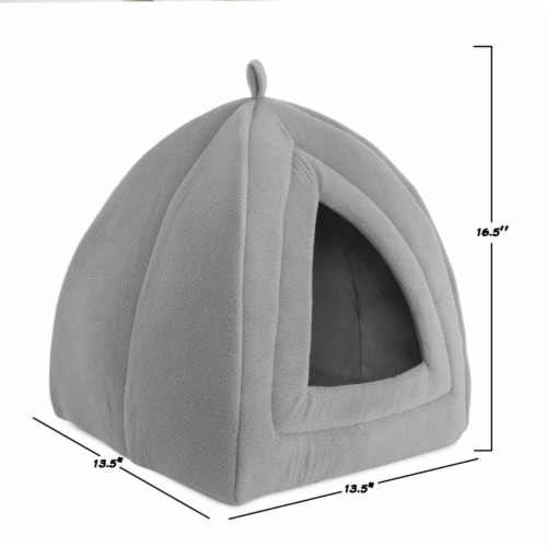 Gray Cat Pet Igloo Cave Enclosed Covered Tent House Removable Cushion Bed Perspective: back
