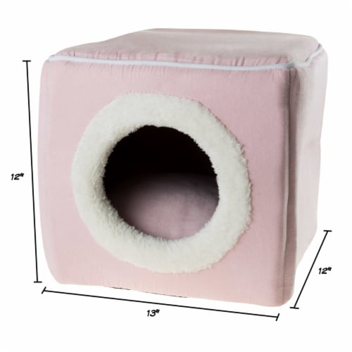 Pink Cat Cave Hide Out Cube Bed 13 x 12 Removable Pillow Makes Cat Feel Safe Cubby Perspective: back