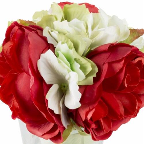 Glass Vase Artificial Hydrangea Rose Floral Arrangement Centerpiece 6.5 x 3.25 Perspective: back