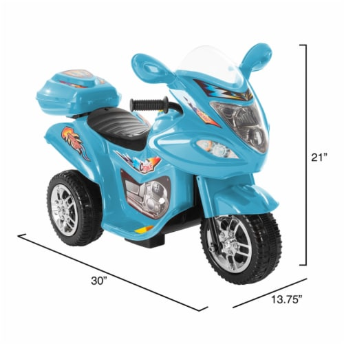 Battery Operated Powered Bike Three Wheeled Trike Motorcycle Ride On Toy 2 - 3 Yrs Blue Perspective: back