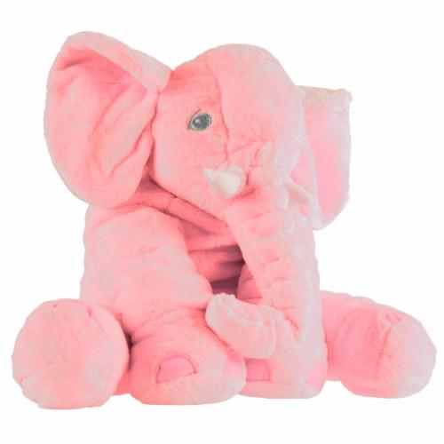 Pink Elephant Stuffed Animal Pillow Kids Adults Huggable Toddler Kids Friend Perspective: back