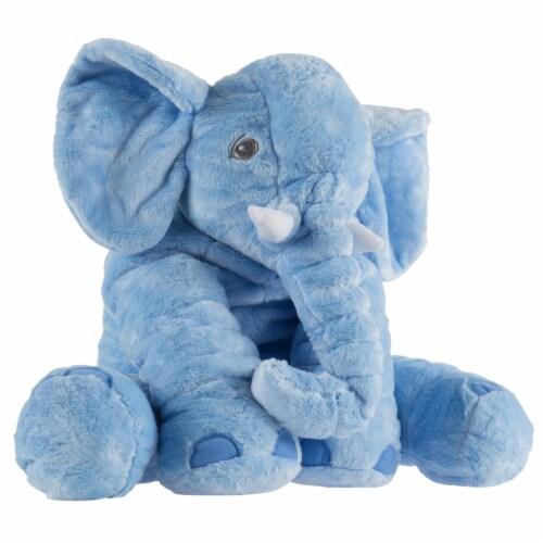 Blue Elephant Stuffed Animal Pillow Kids Adults Huggable Toddler Kids Friend Perspective: back