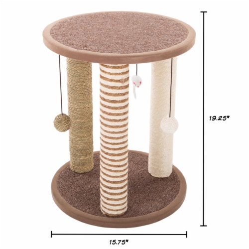 Cat Scratching Post with Perch Sisal Rope and Toys for Cats and Kittens Play Perspective: back