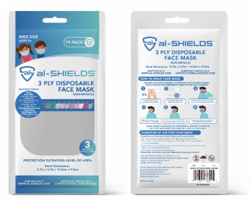 Al Shields 3 Ply Kids Disposable Face Mask -assorted Perspective: back