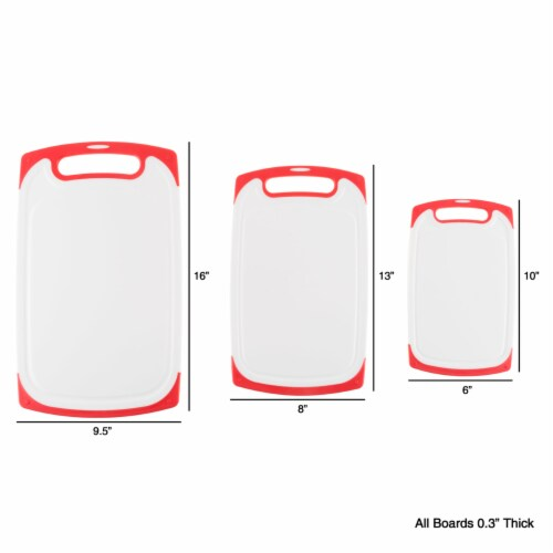 Plastic Cutting Board Set of 3 Chopping Boards Juice Groove Dishwasher Safe Perspective: back