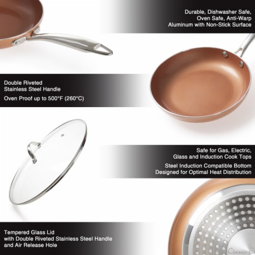 12 Inch Frying Pan with Lid Copper Finish Induction Cooking Oven Stove Top Safe Perspective: back
