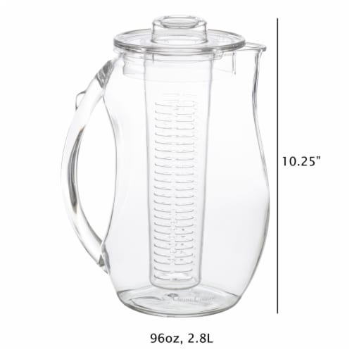 Infusion Pitcher 96 Ounce Acrylic Water Tea Add Healthy Flavor Fruit Veggies Lemonade Punch Perspective: back