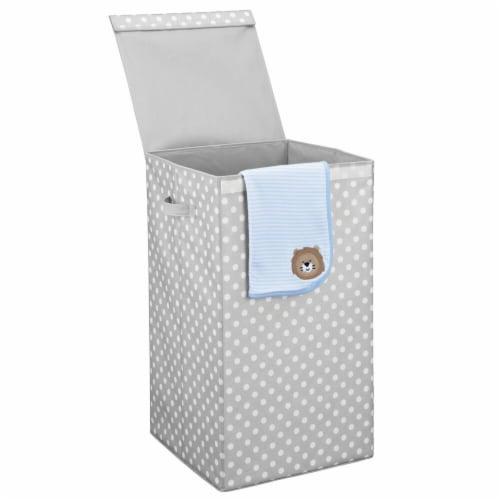 mDesign Large Laundry Hamper Basket, Hinged Lid, Polka Dot Print - Gray/White Perspective: back