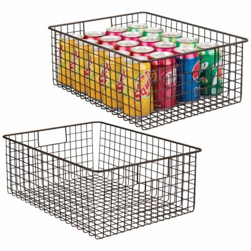 mDesign Metal Wire Food Organizer Storage Bins with Handles Perspective: back