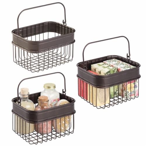 mDesign Bathroom Storage Basket Bin with Handle, Small, 3 Pack - Bronze Perspective: back
