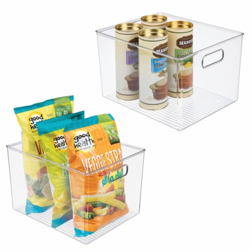 mDesign Plastic Storage Organizer Large Kitchen Container Bin - 2 Pack - Clear Perspective: back