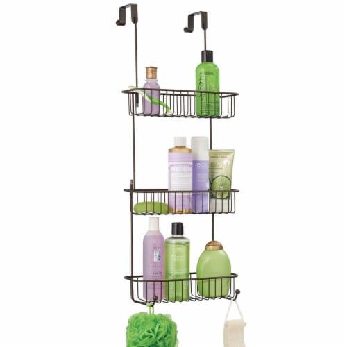 mDesign Metal Over Shower Door Caddy, Bathroom Storage Organizer Perspective: back