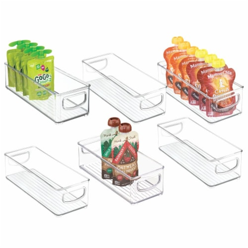 mDesign Plastic Kitchen Food Storage Bin with Handles, 6 Pack Perspective: back