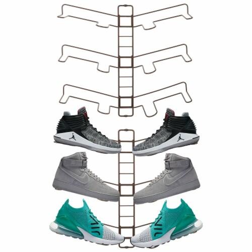 mDesign Metal Shoe Display & Storage Rack, 3 Tier, Wall Mount, 2 Pack - Bronze Perspective: back
