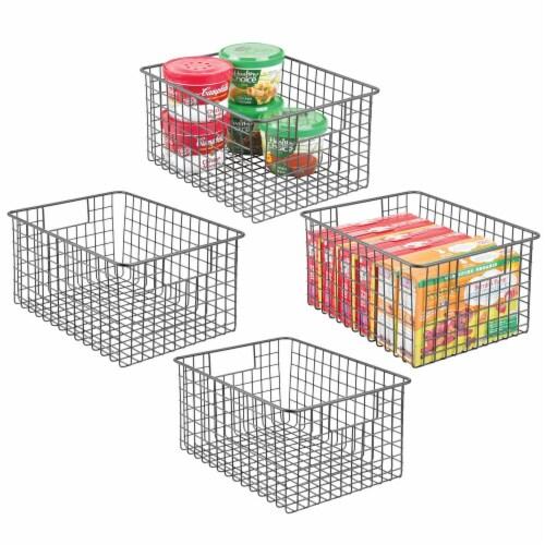 mDesign Metal Wire Food Storage Organizer Bin Perspective: back