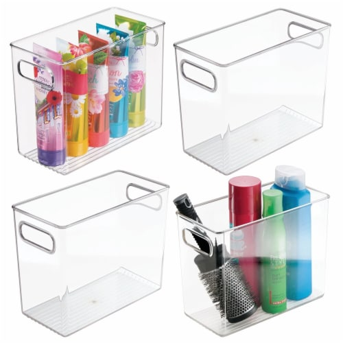 mDesign Slim Plastic Bathroom Storage Container Bin, 5  Wide, 4 Pack - Clear Perspective: back