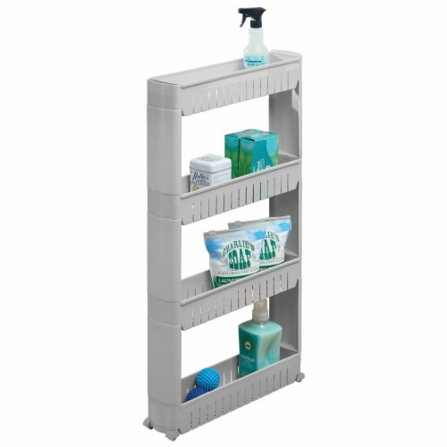 mDesign Portable Rolling Laundry Utility Cart Organizer with 4 Shelves Perspective: back