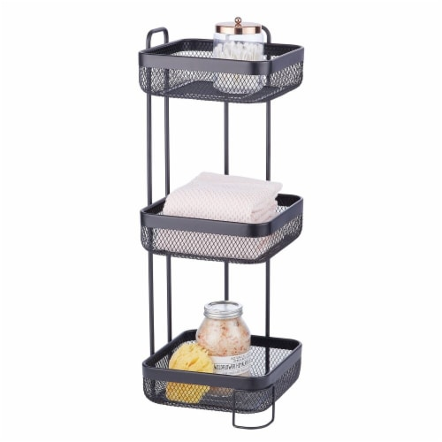 mDesign Vertical Standing Bathroom Shelving Unit Tower with 3 Baskets, Black Perspective: back