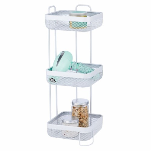 mDesign Vertical Standing Bathroom Shelving Unit Tower with 3 Baskets, White Perspective: back