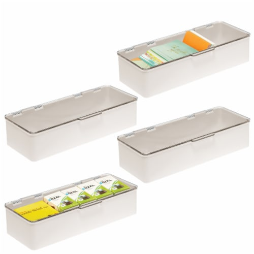 """mDesign Plastic Desk Organizer Box for Home Office, 3"""" High, 4 Pack Perspective: back"""