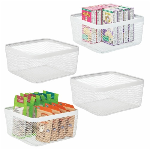 mDesign Metal Wire Food Organizer Storage Bin, 4 Pack Perspective: back