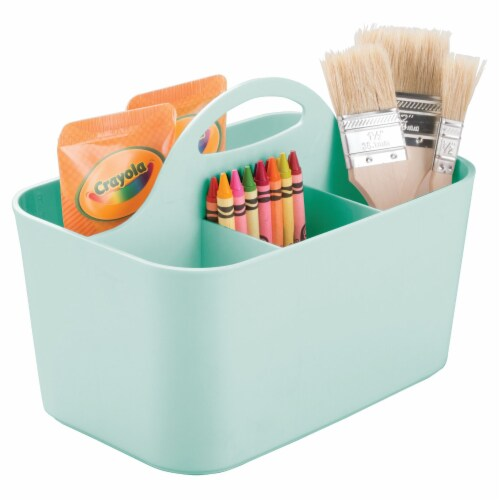 mDesign Plastic Sewing & Craft Storage Organizer Caddy Tote Bin - Mint Green Perspective: back